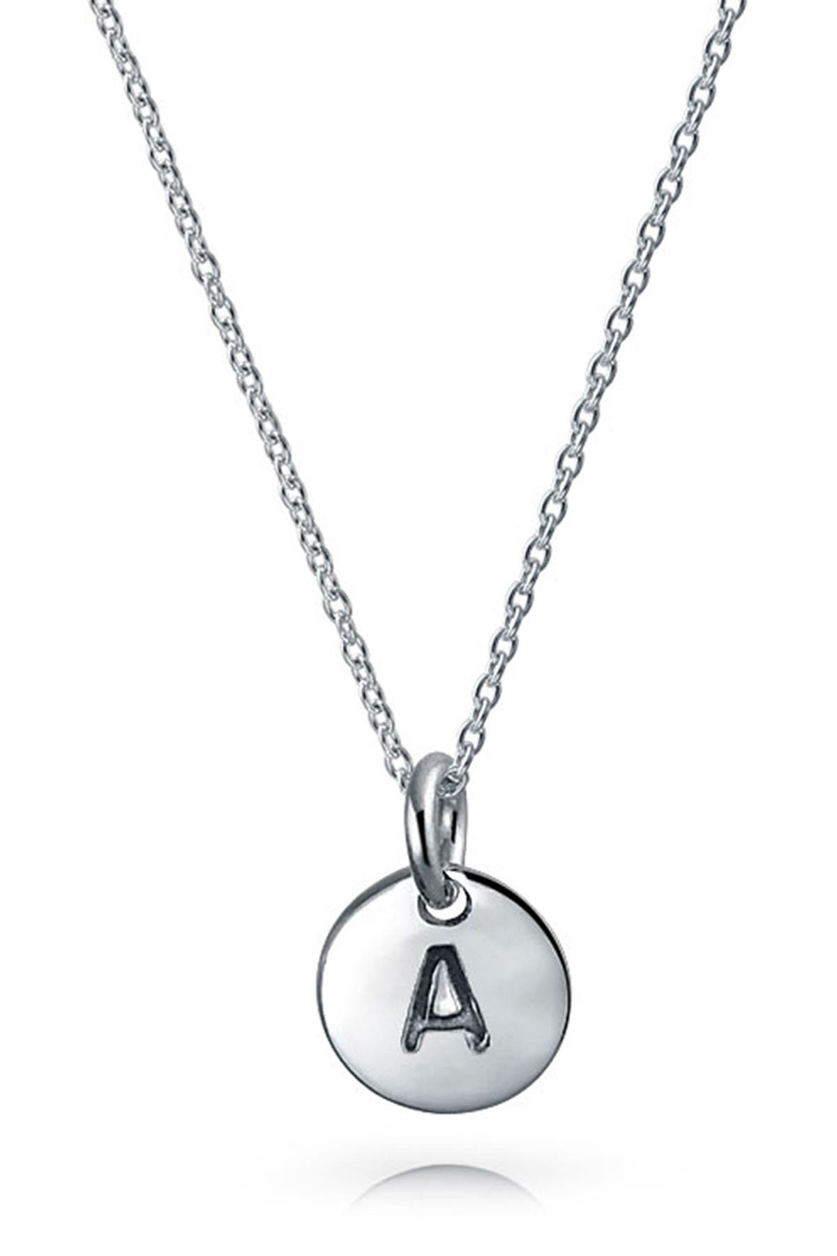 Image of Bling Jewelry Sterling Silver Minimalist Initial Pendant Necklace