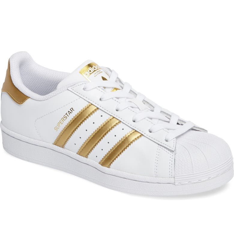 ADIDAS Superstar Sneaker, Main, color, WHITE/ GOLD
