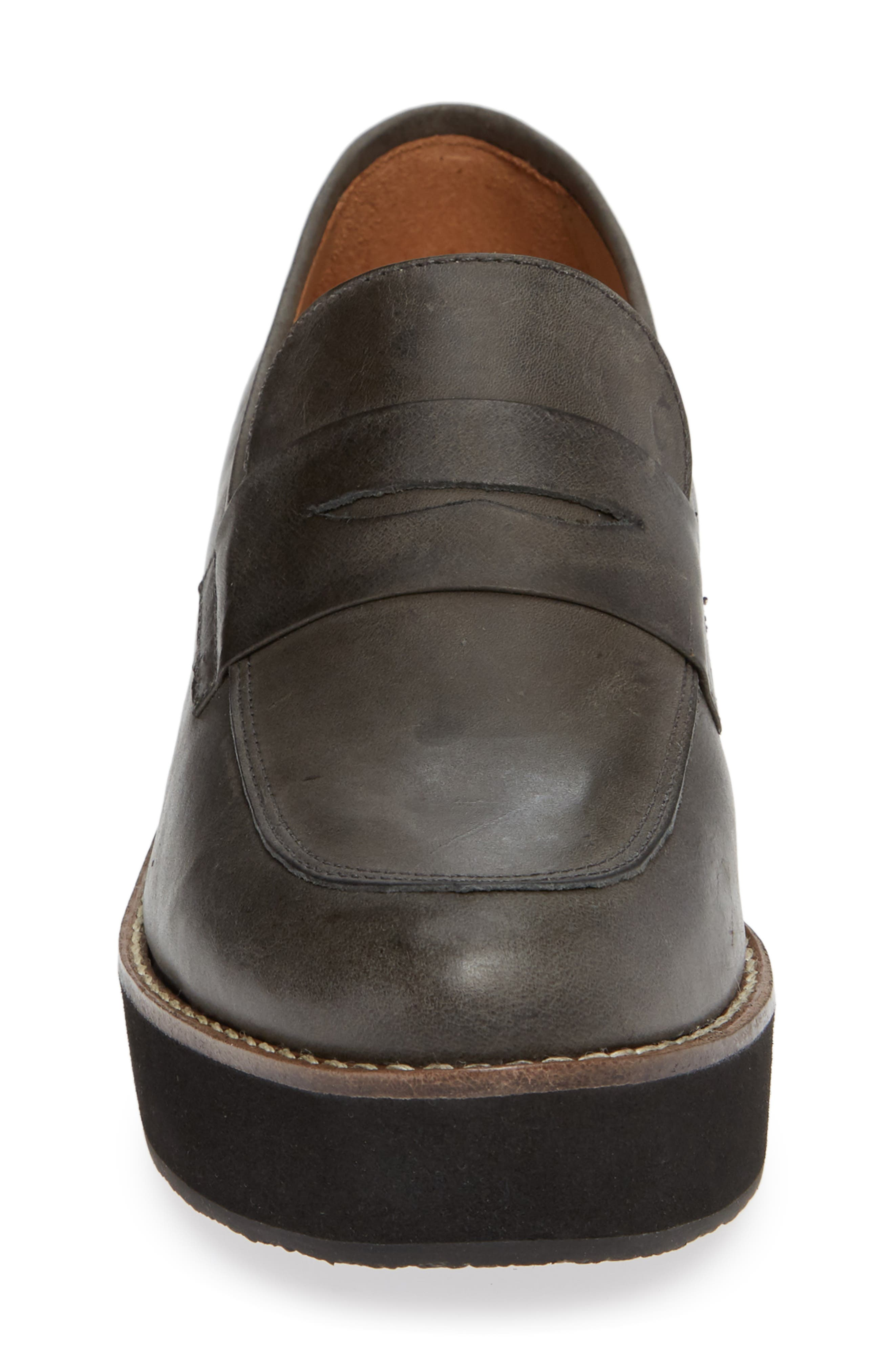 ,                             Santiago Platform Penny Loafer,                             Alternate thumbnail 4, color,                             BLACK LEATHER