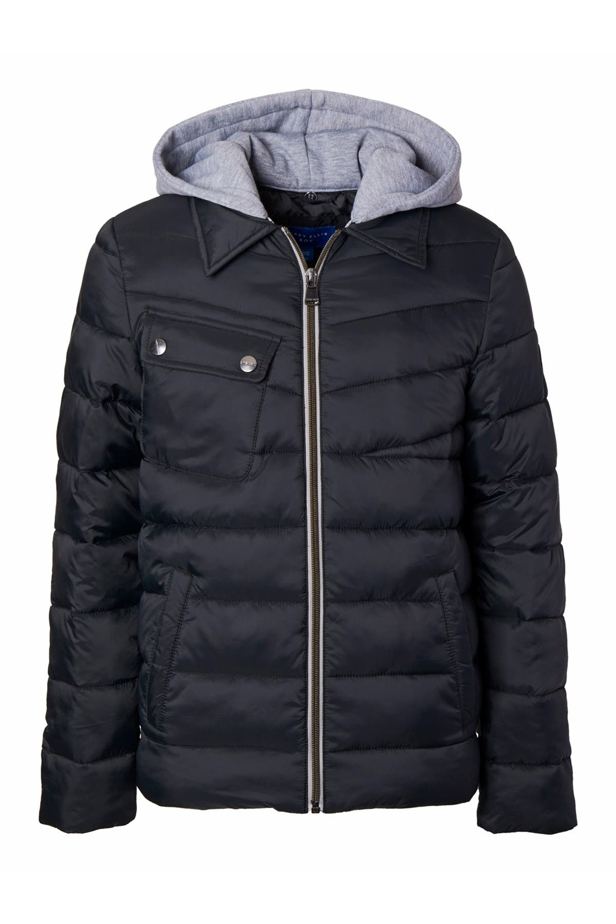 Image of Perry Ellis Quilted Knit Hood Jacket