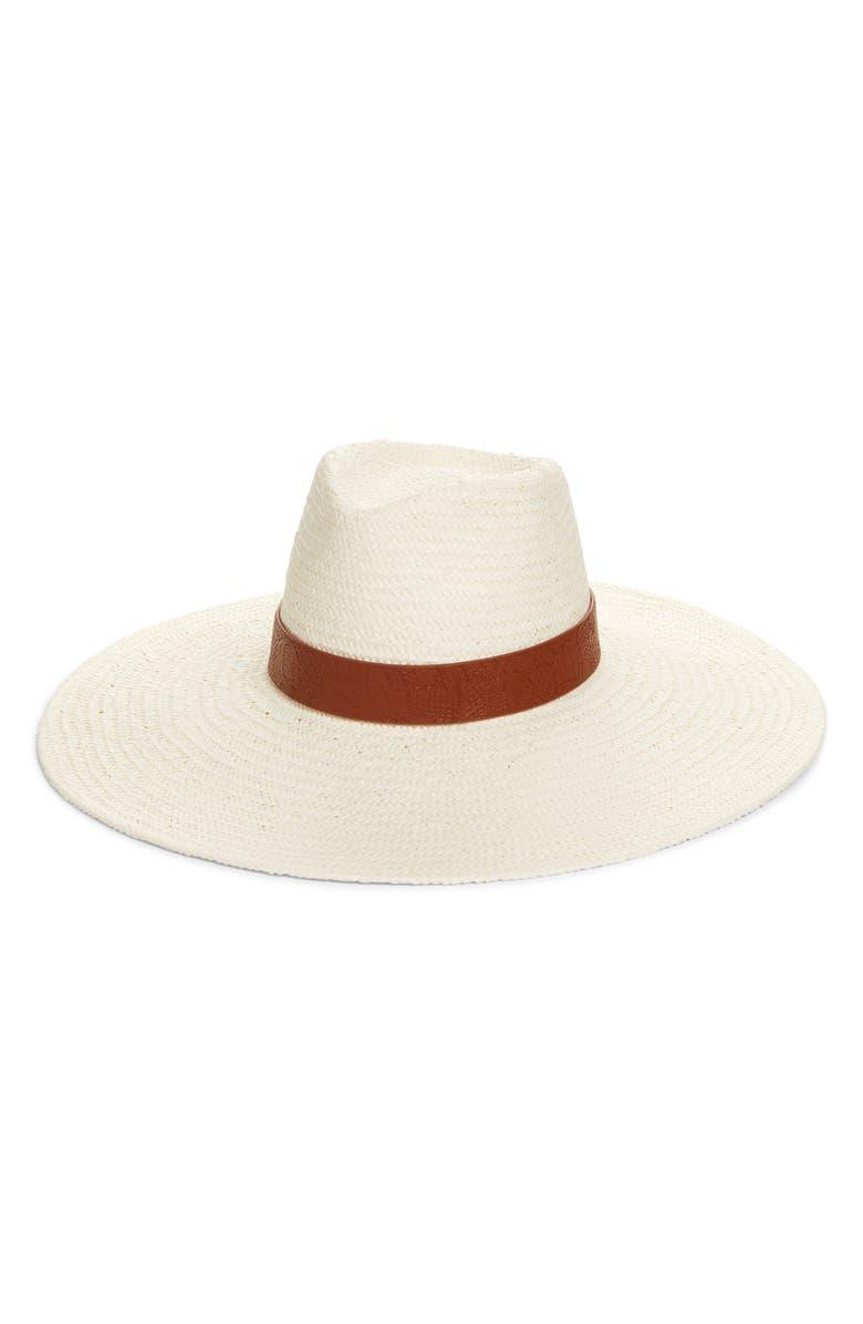 TREASURE & BOND Wide Brim Straw Panama Hat, Main, color, IVORY COMBO