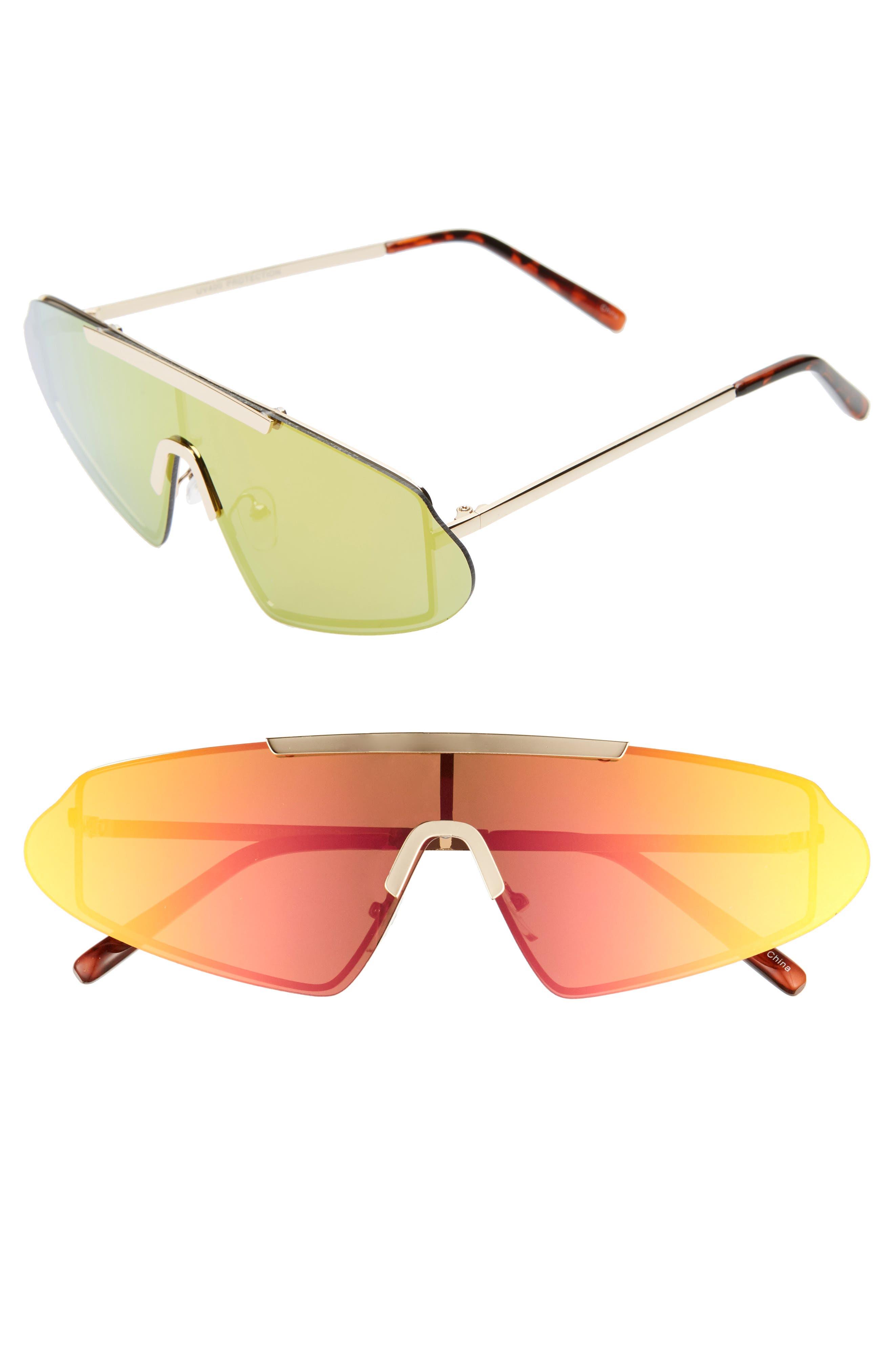 Rad + Refined Rimless Mirrored Sunglasses - Gold/ Multi