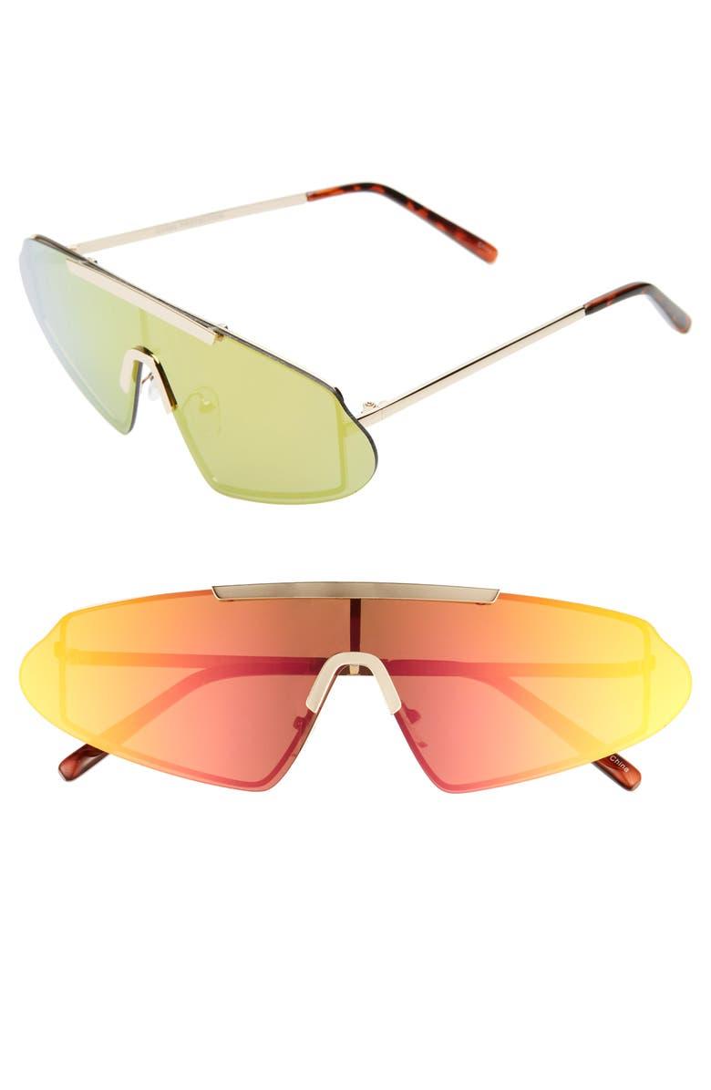 RAD + REFINED Rimless Mirrored Sunglasses, Main, color, GOLD/ MULTI