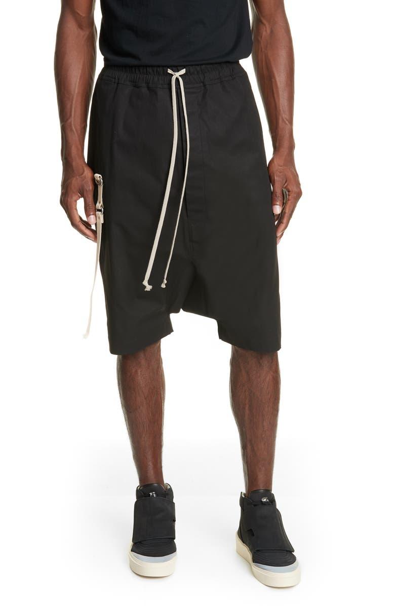 RICK OWENS Pantaloni Teec2 Drawstring Shorts, Main, color, 001