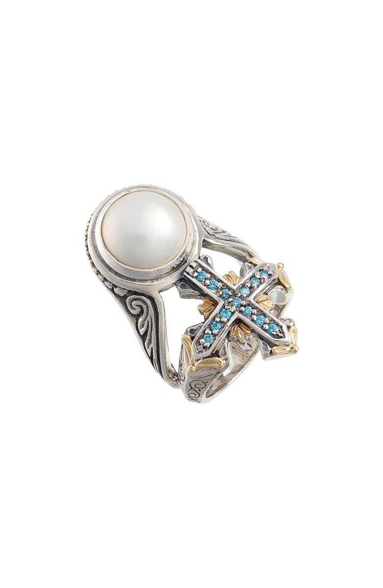 KONSTANTINO Thalia Blue Cross Pearl Ring, Main, color, SILVER/ PEARL
