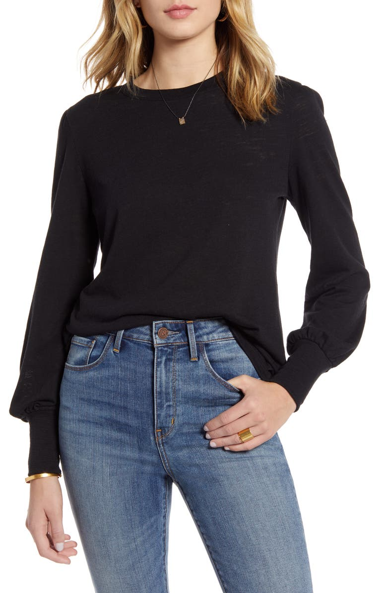 TREASURE & BOND Puff Long Sleeve Tee, Main, color, BLACK