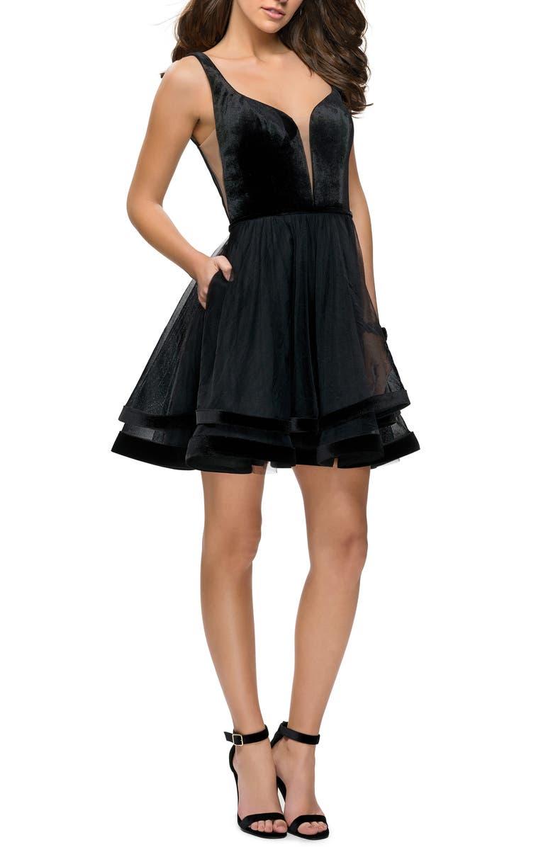 LA FEMME Velvet & Tulle Party Dress, Main, color, BLACK