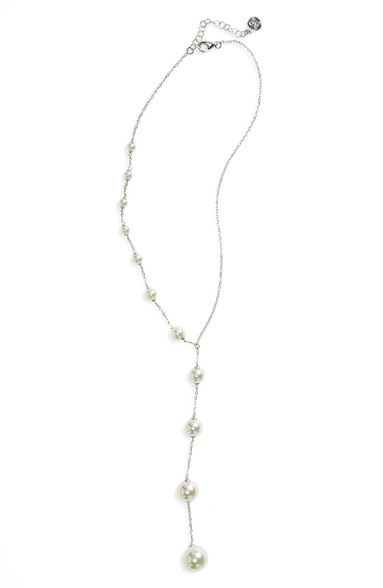 MAJORICA Illusion Simulated Pearl Y-Necklace, Main, color, WHITE