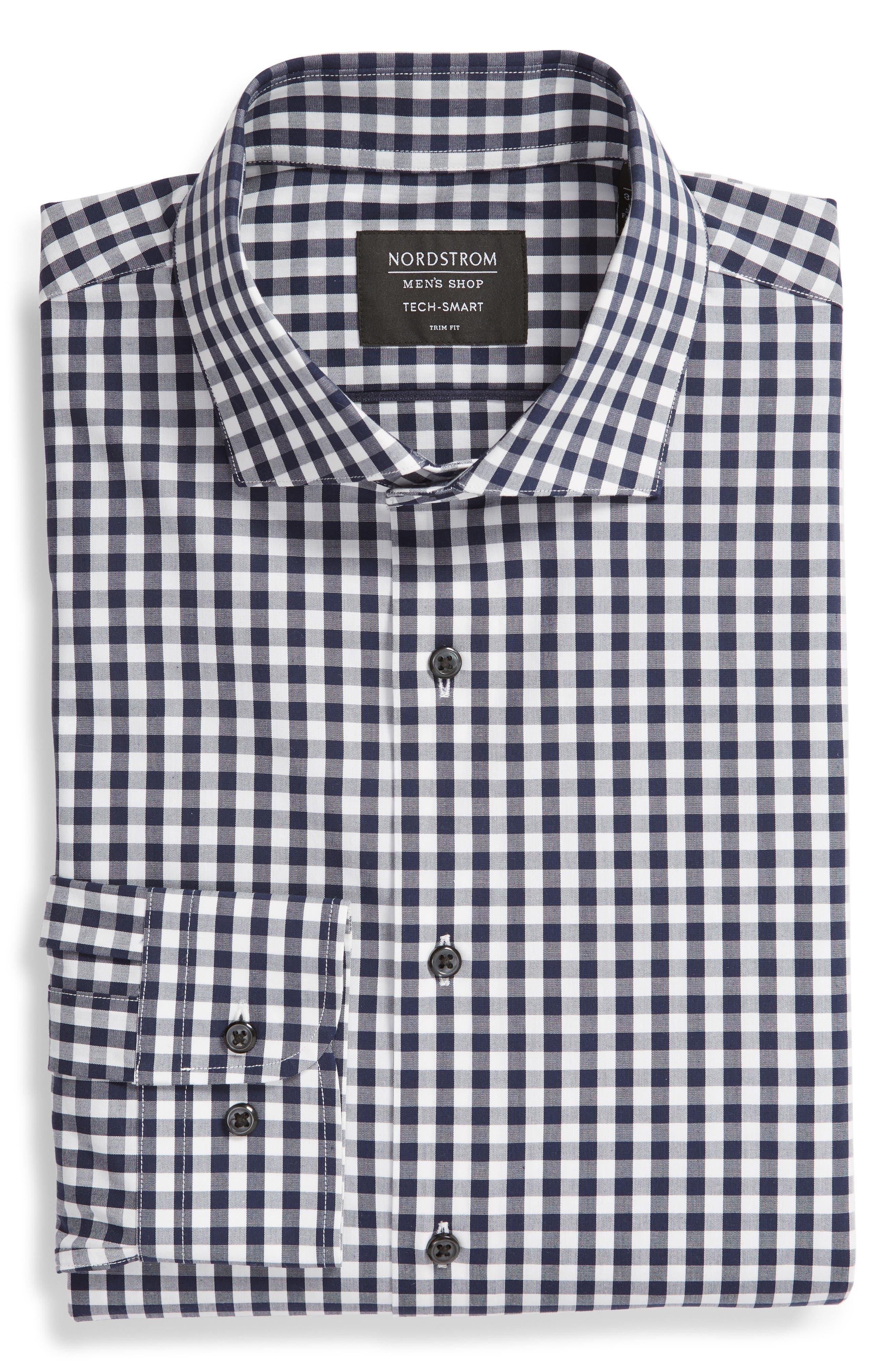 ,                             Tech-Smart Trim Fit Stretch Check Dress Shirt,                             Alternate thumbnail 19, color,                             401