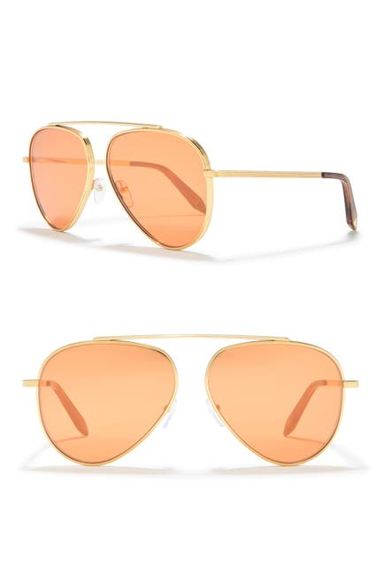 Image of Victoria Beckham 63mm Aviator Sunglasses