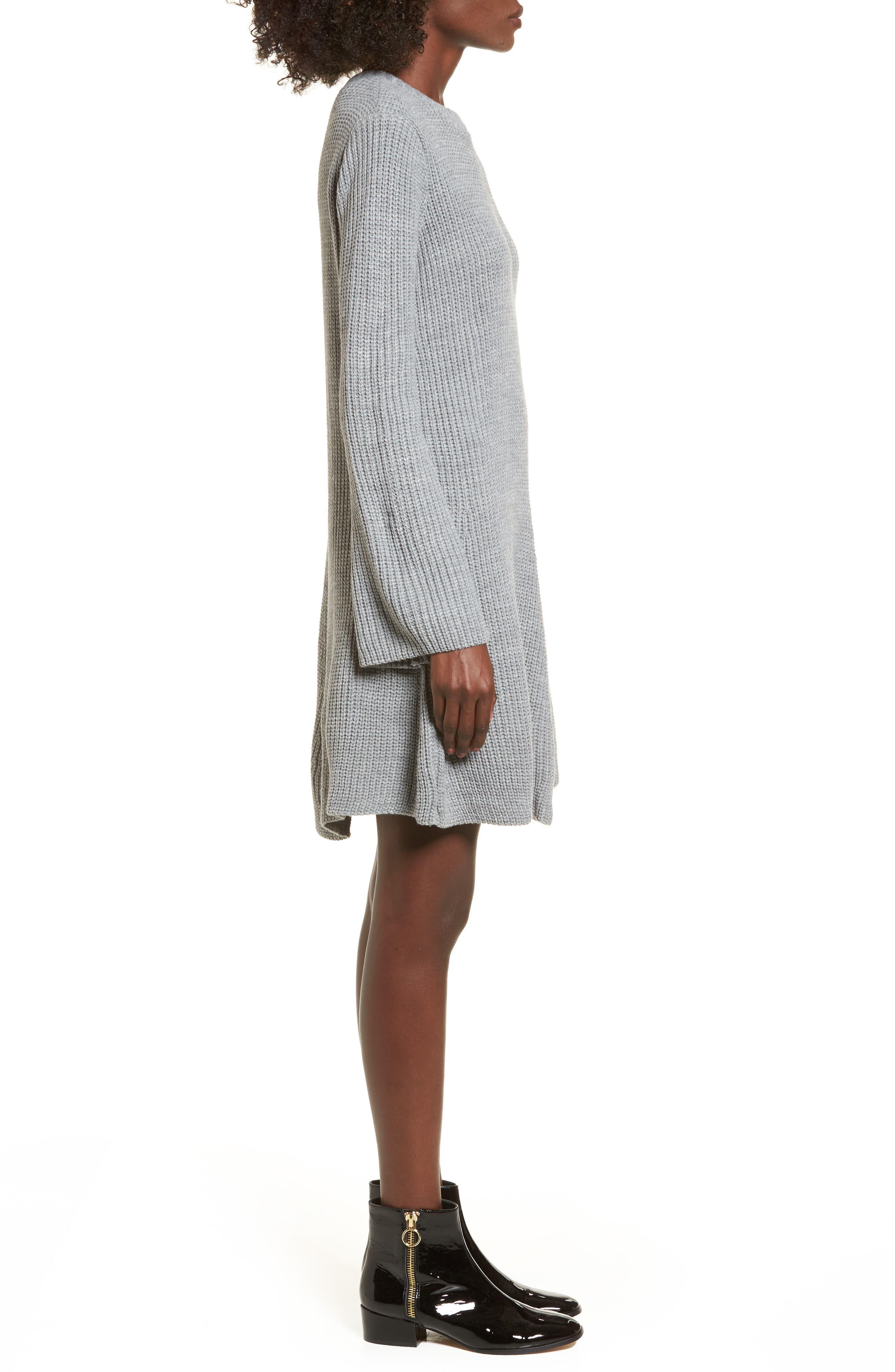 ,                             Flared Sleeve Sweater Dress,                             Alternate thumbnail 3, color,                             020