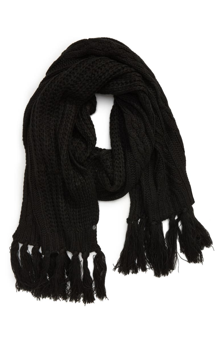 TREASURE & BOND Fringe Cable Knit Scarf, Main, color, BLACK