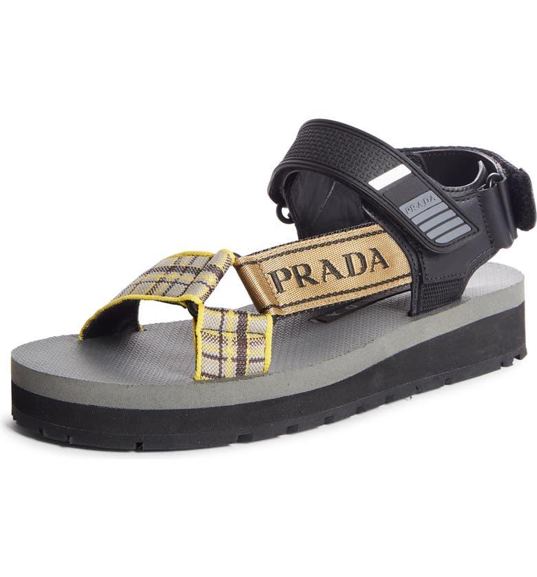 PRADA Logo Sandal, Main, color, BLACK/ YELLOW