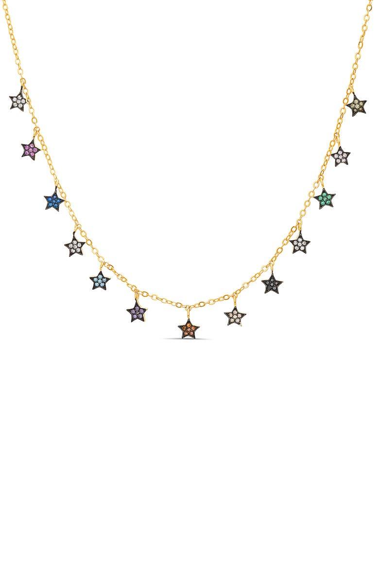 LESA MICHELE Multicolored Star Charm Necklace, Main, color, MULTI
