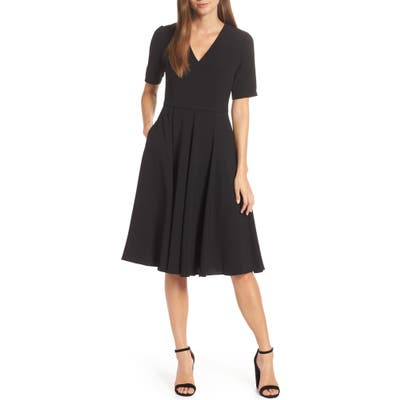 Gal Meets Glam Collection Edith City Crepe Fit & Flare Midi Dress, Black (Nordstrom Exclusive)