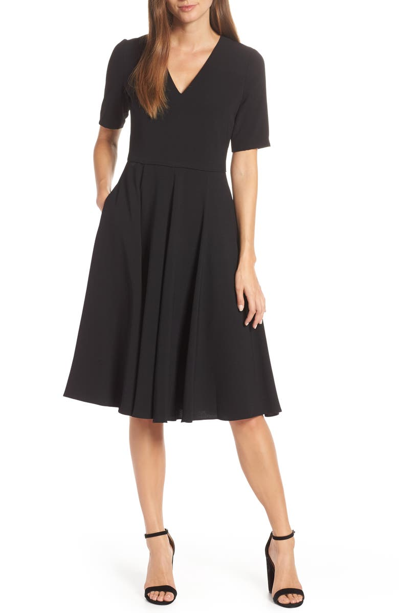 GAL MEETS GLAM COLLECTION Edith City Crepe Fit & Flare Midi Dress, Main, color, BLACK