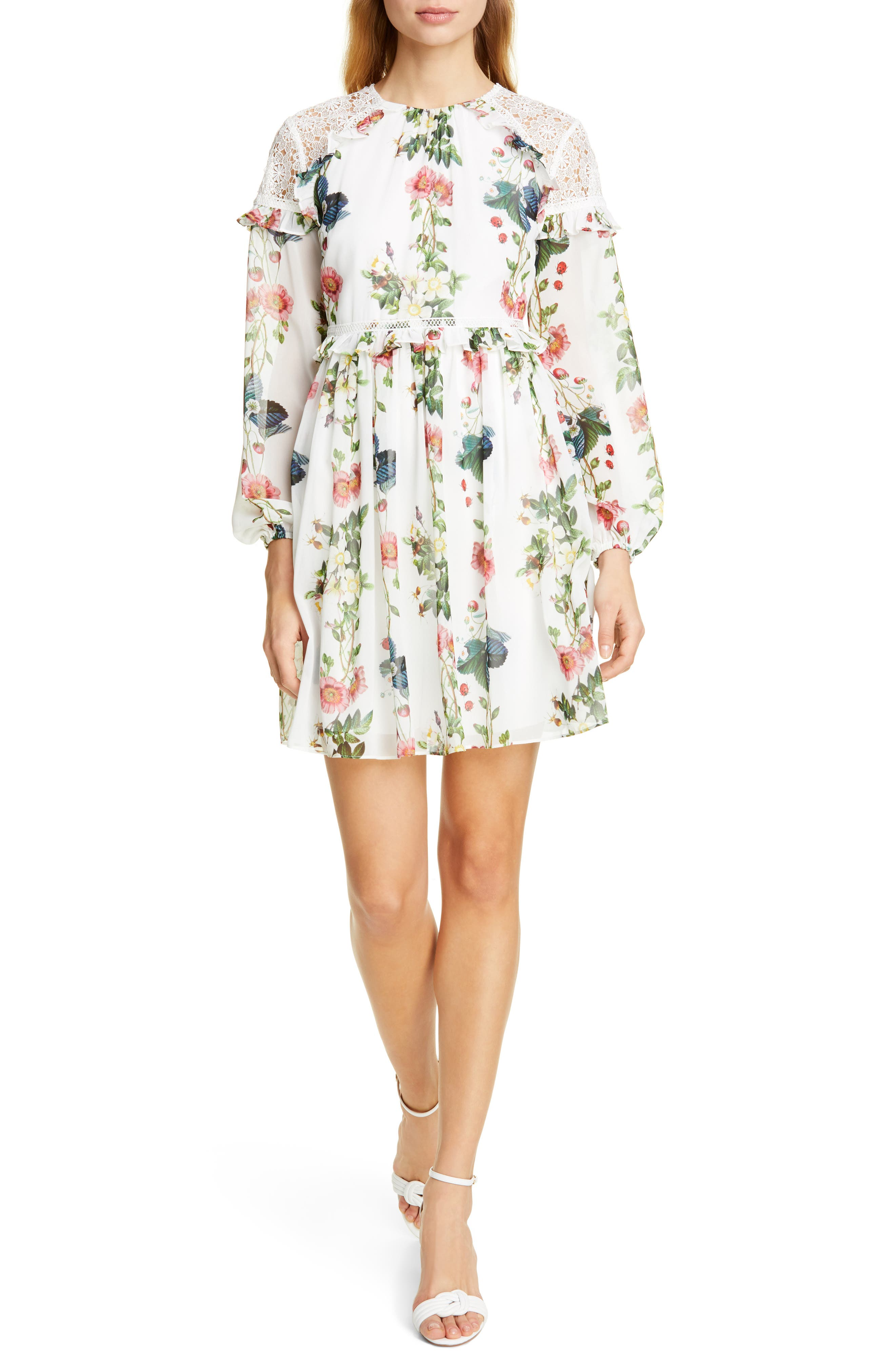Ted Baker London Maryam Oracle Long Sleeve Dress, White