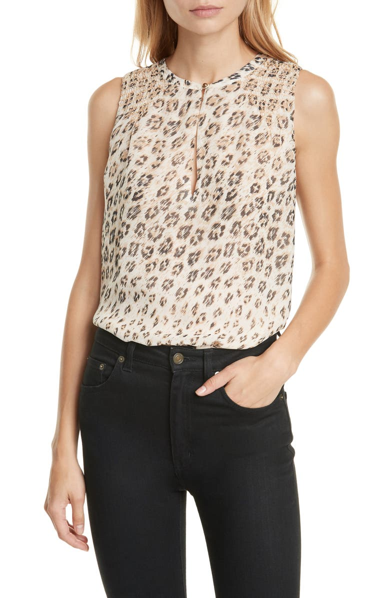 JOIE Corie Leopard Print Sleeveless Silk Top, Main, color, CAPPUCCINO