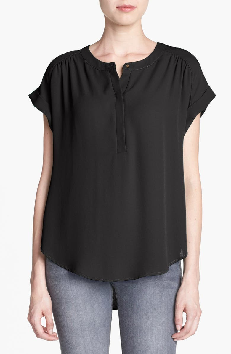 ASTR THE LABEL ASTR Cap Sleeve Shirred Blouse, Main, color, 001