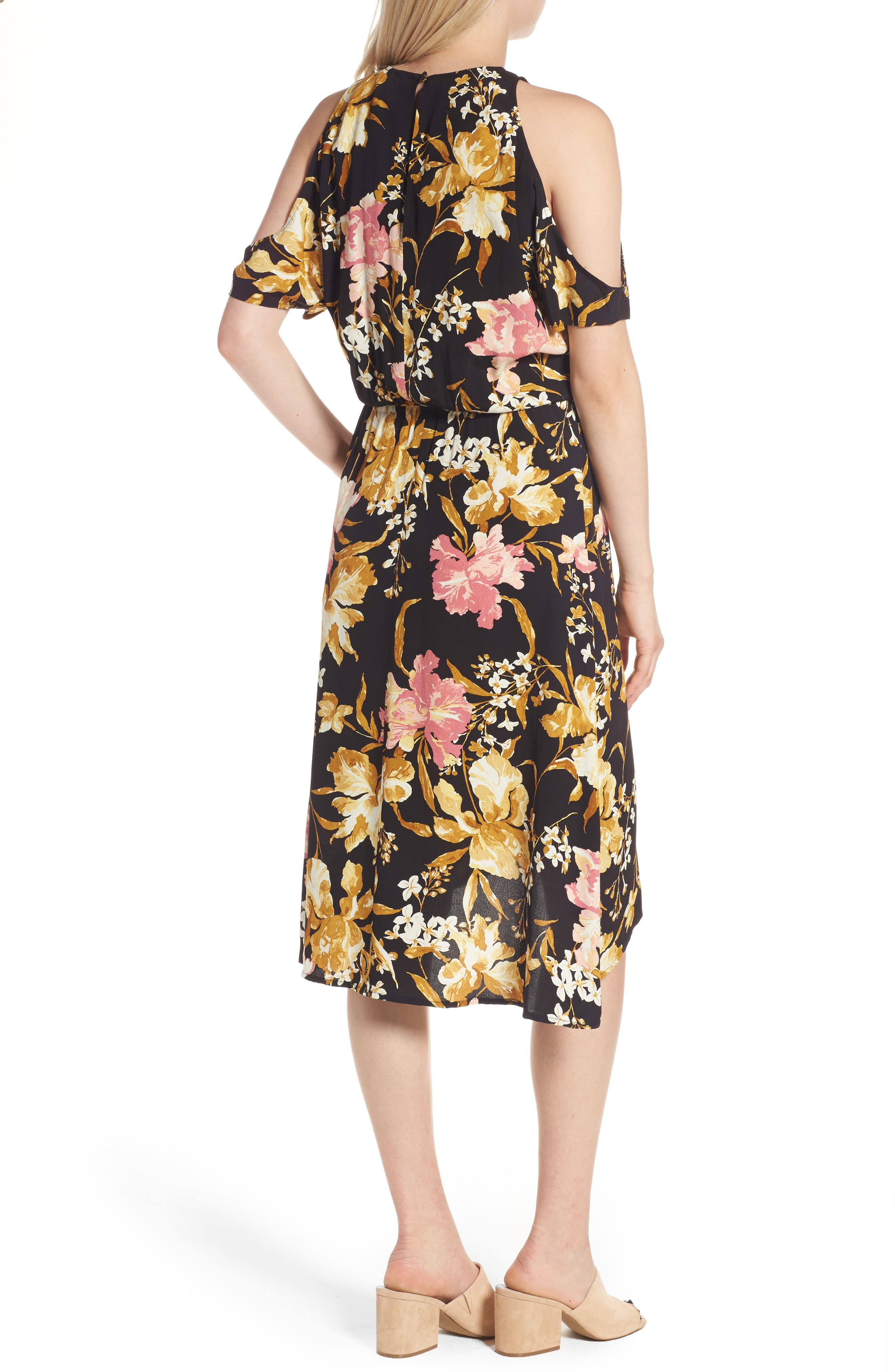 ,                             Cold Shoulder Midi Dress,                             Alternate thumbnail 2, color,                             001