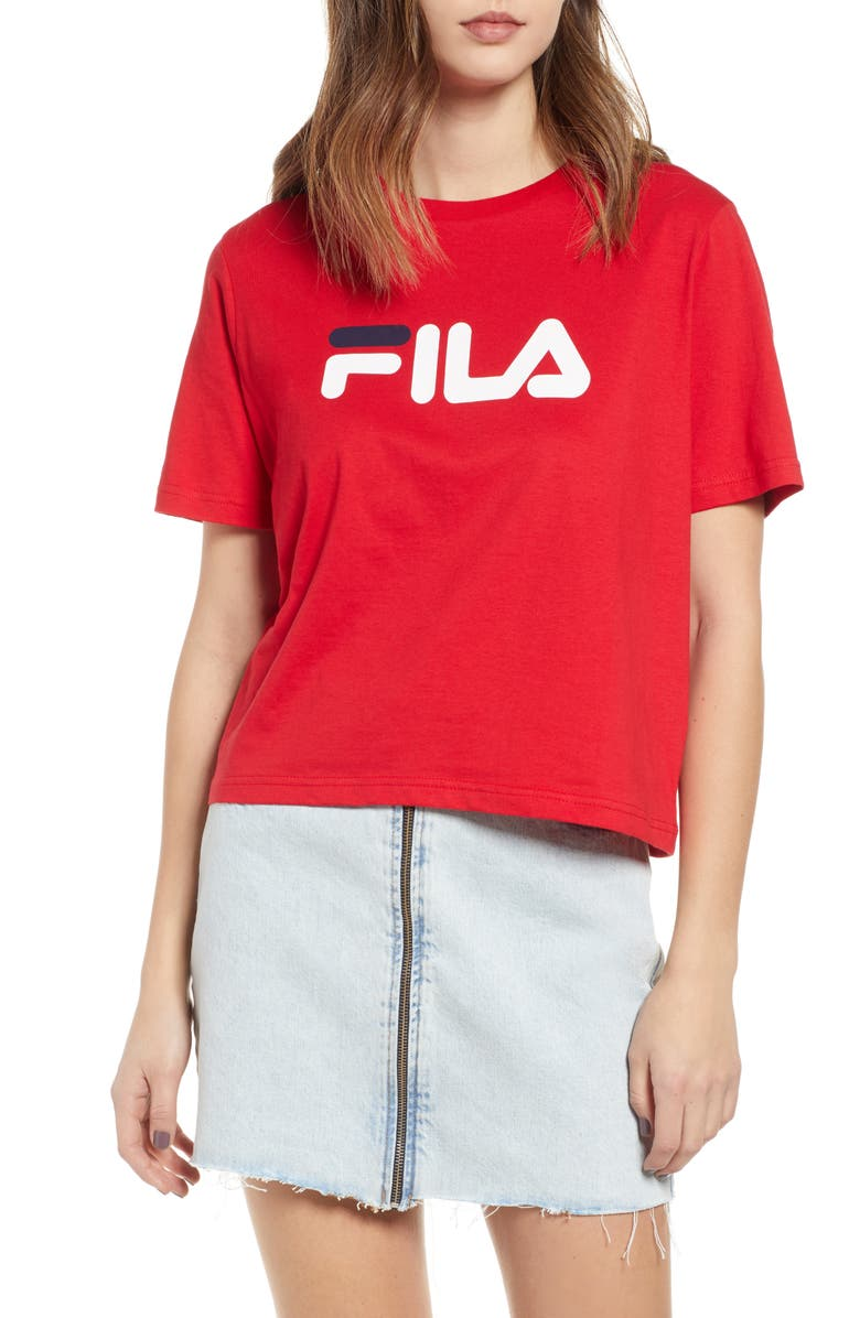 FILA Miss Eagle Logo Tee, Main, color, CHINESE RED/ PEACH/ WHITE