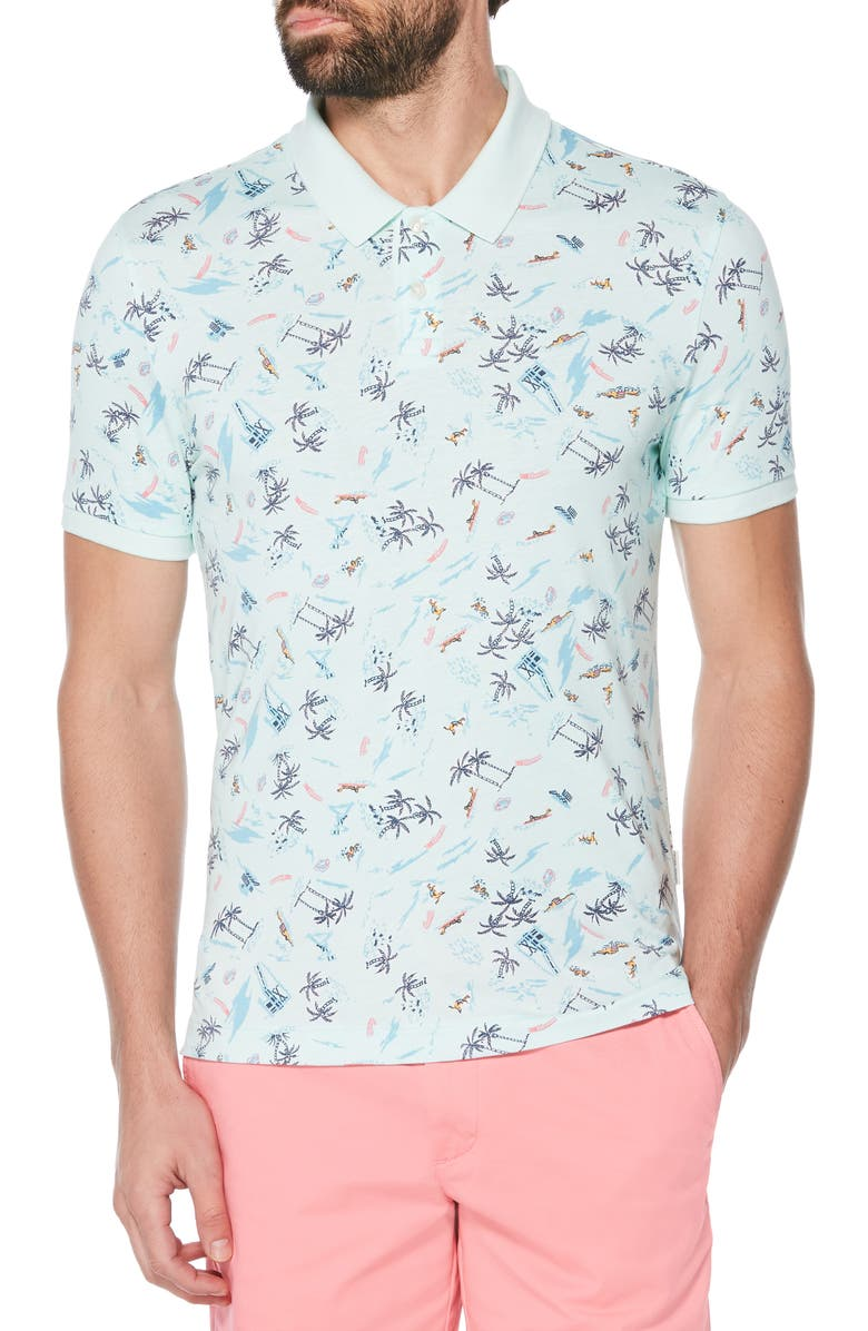 ORIGINAL PENGUIN Beach Print Polo, Main, color, SOOTHING SEA