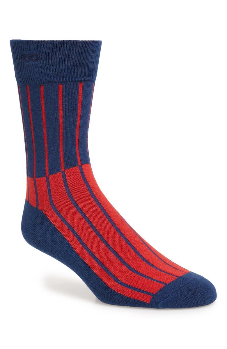 THIEVES GOLD Les Lignes d'Or Crew Socks, Main, color, BLUE