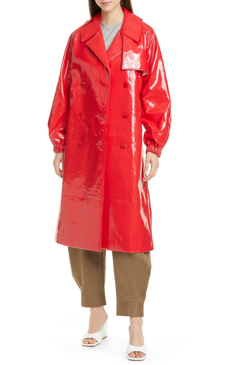 TIBI Shiny Trench Coat, Main, color, 600