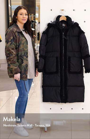 Fleece Trim Long Puffer Coat, sales video thumbnail