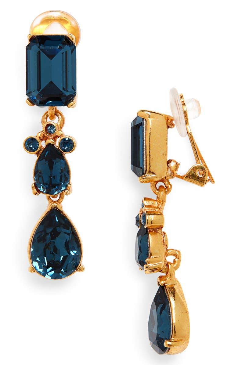 OSCAR DE LA RENTA Small Classic Crystal Drop Earrings, Main, color, MONTANA