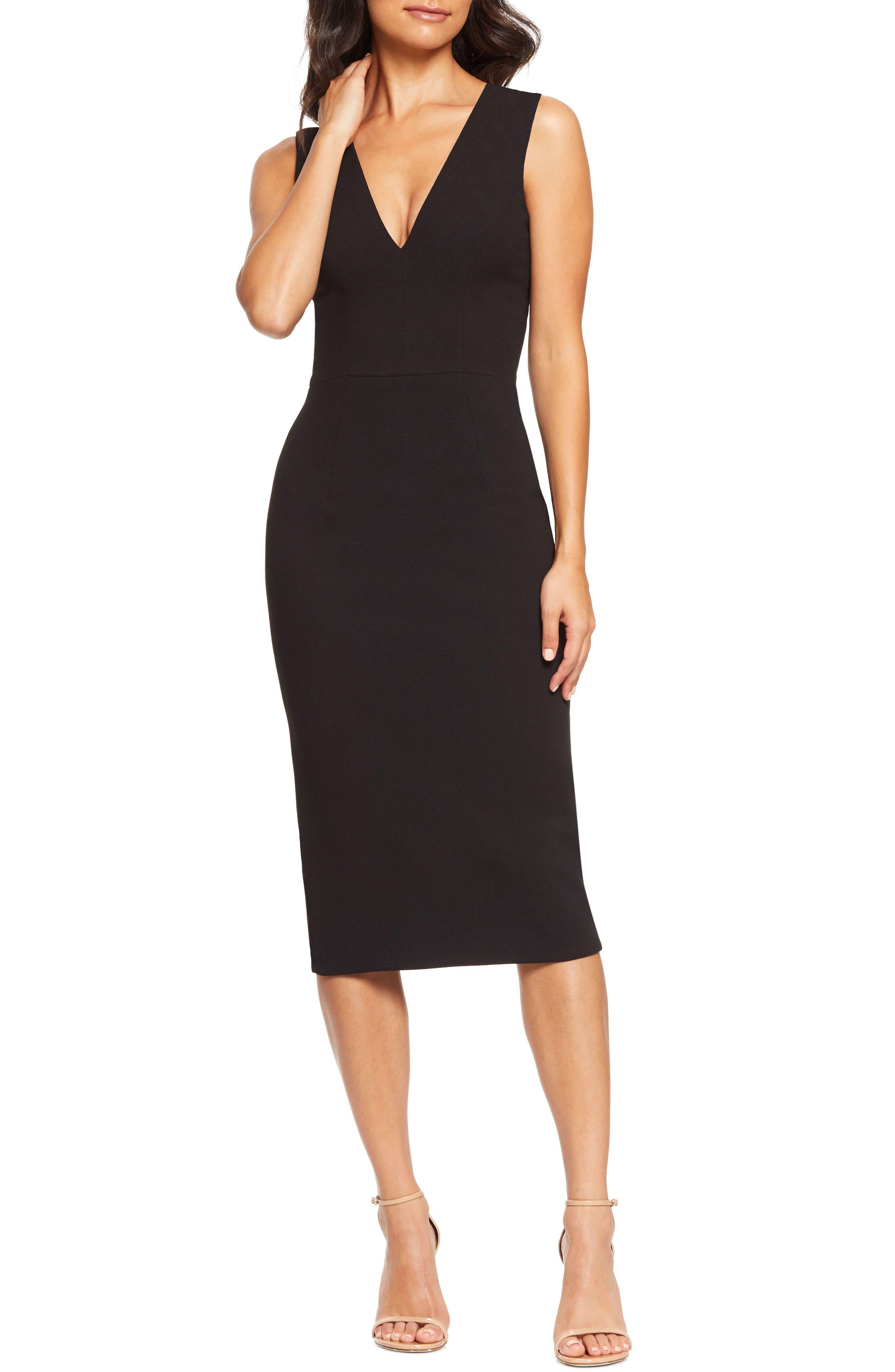 Dress The Population Sandy Plunge Neck Stretch Crepe Sheath Dress, Black