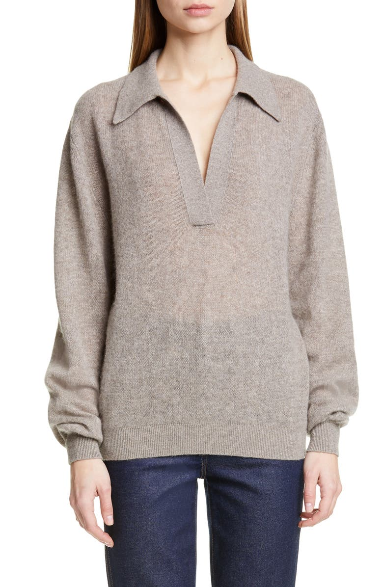 KHAITE Jo Stretch Cashmere Polo Sweater, Main, color, BARLEY