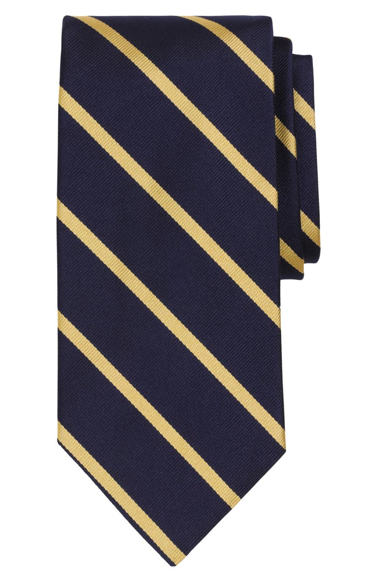 BROOKS BROTHERS Stripe Silk Tie, Main, color, NAVY/ GOLD