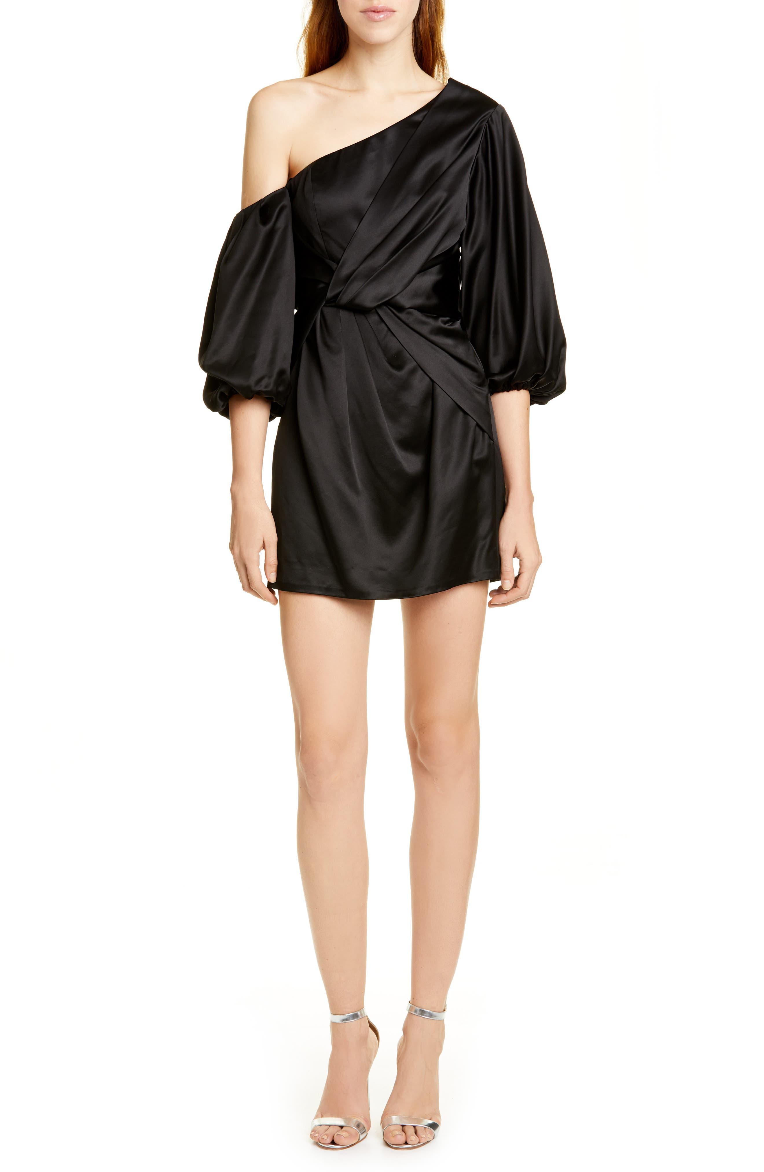 Amur Dresses Alessandra One-Shoulder Satin Minidress