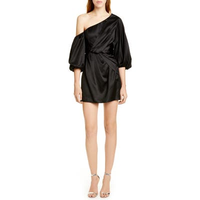 Amur Alessandra One-Shoulder Satin Minidress, Black