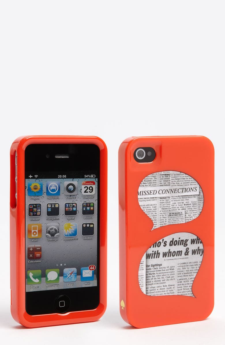 KATE SPADE NEW YORK 'who's doing what' iPhone 4 & 4S case, Main, color, RED/ BLACK/ WHITE