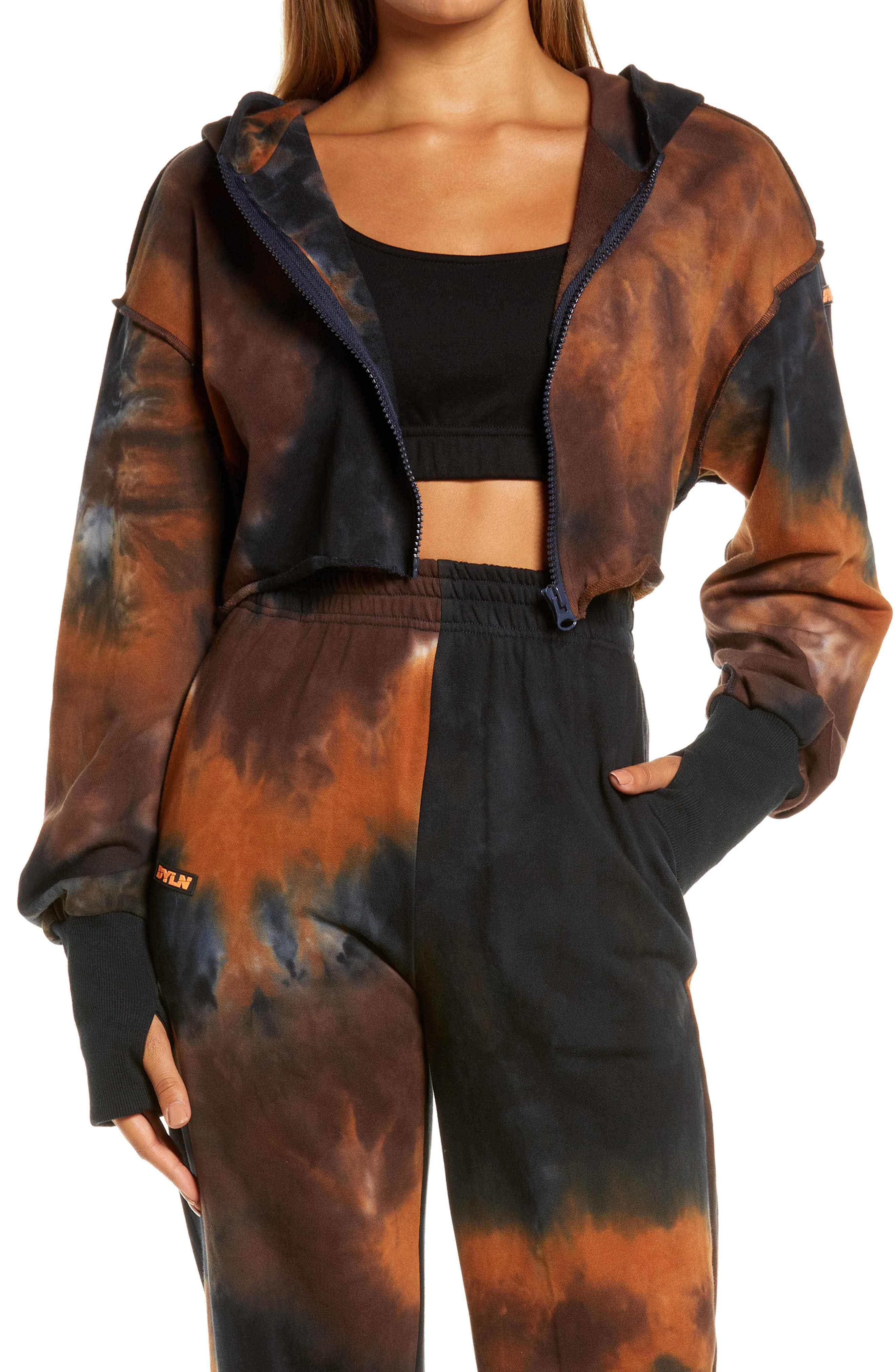Women's By. dyln Hazel Tie Dye Crop Zip Cotton Hoodie