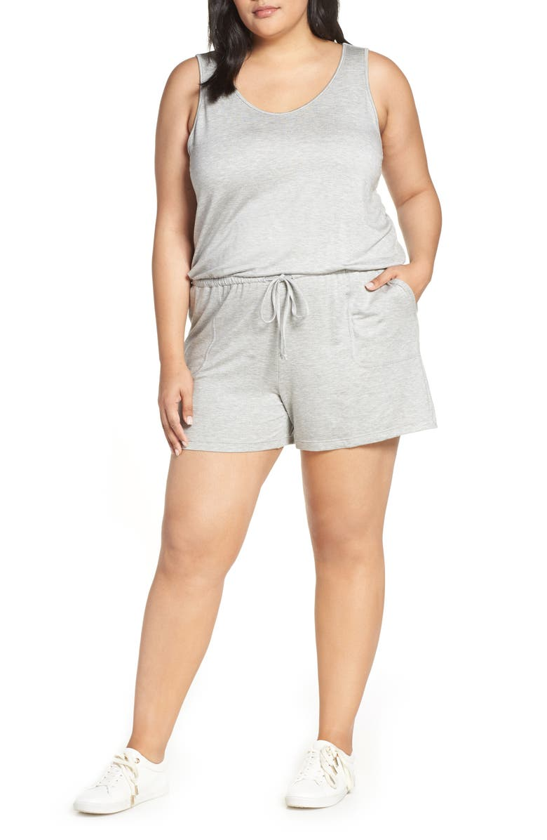GIBSON x Hi Sugarplum! Seaside Soft Jersey Lounge Romper, Main, color, HEATHER GREY