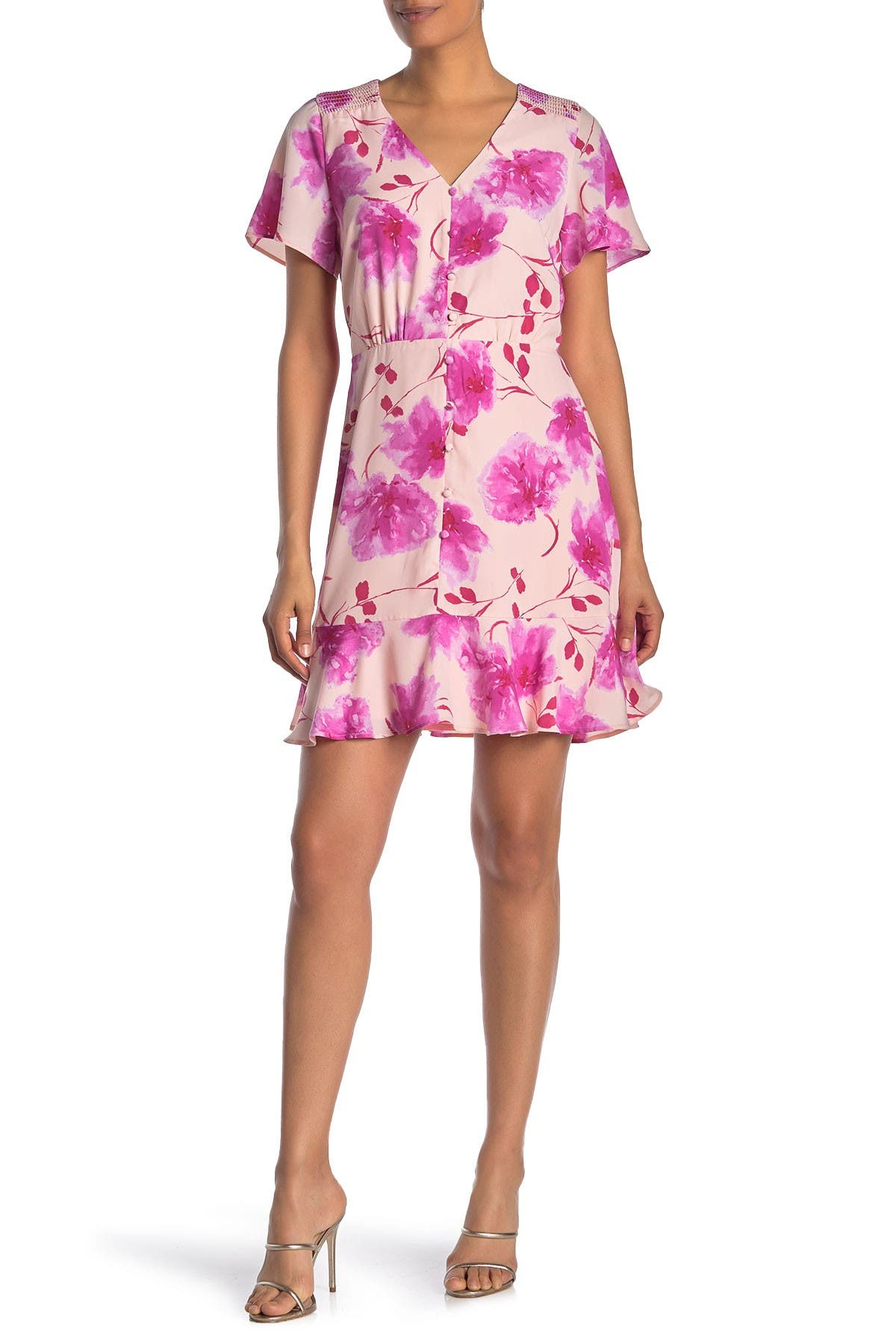 Image of Collective Concepts Short Sleeve Floral Dress