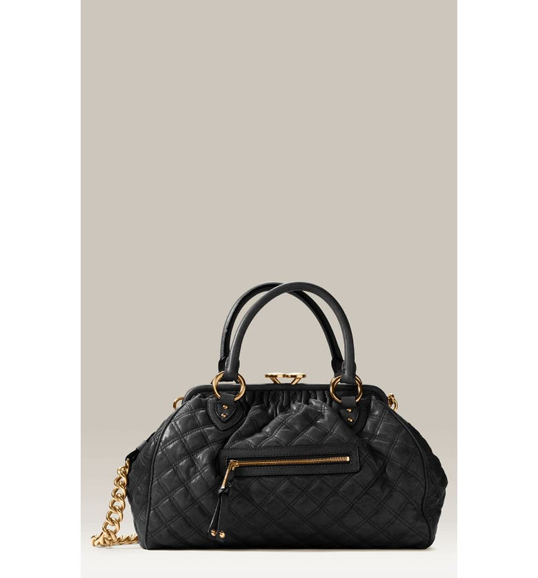 MARC JACOBS 'Stam' Quilted Frame Satchel, Main, color, 001