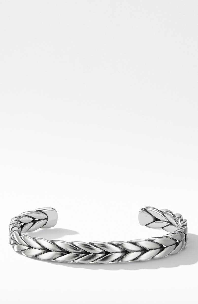 DAVID YURMAN Chevron Woven Cuff Bracelet, Main, color, SILVER