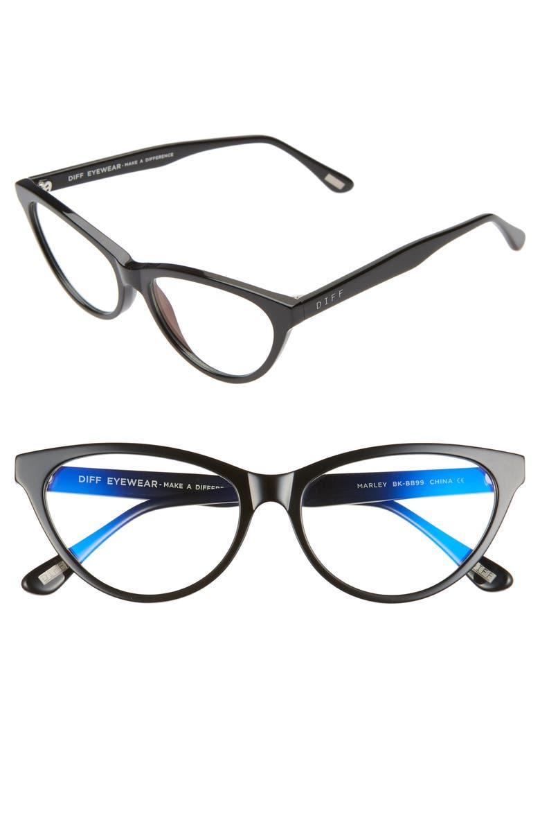 DIFF Marley 53mm Blue Light Blocking Cat Eye Glasses, Main, color, 001