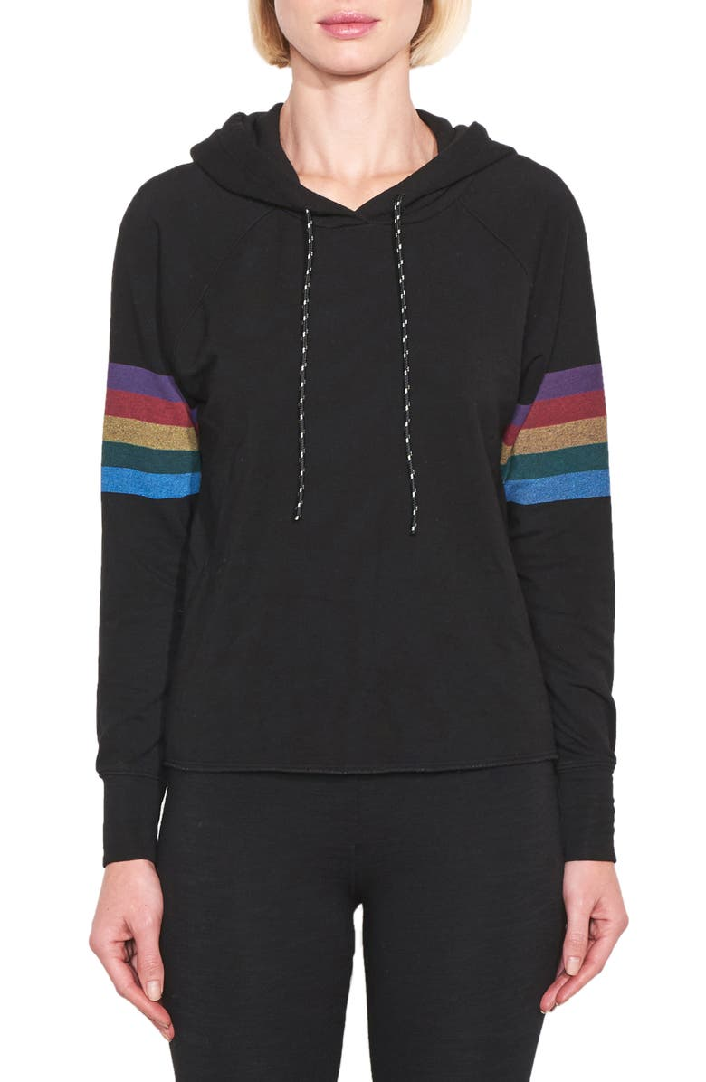 SUNDRY Rainbow Stripe Raw Edge Hoodie, Main, color, 001