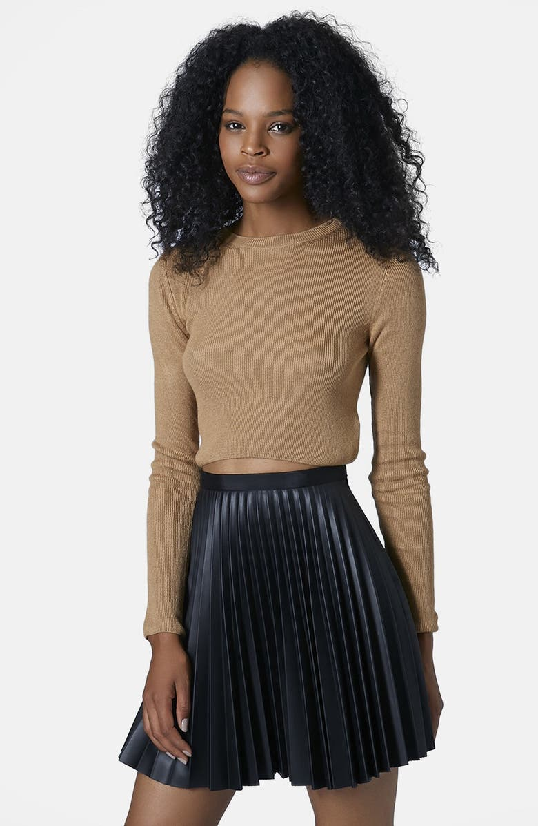 TOPSHOP Ribbed Crop Sweater, Main, color, 252