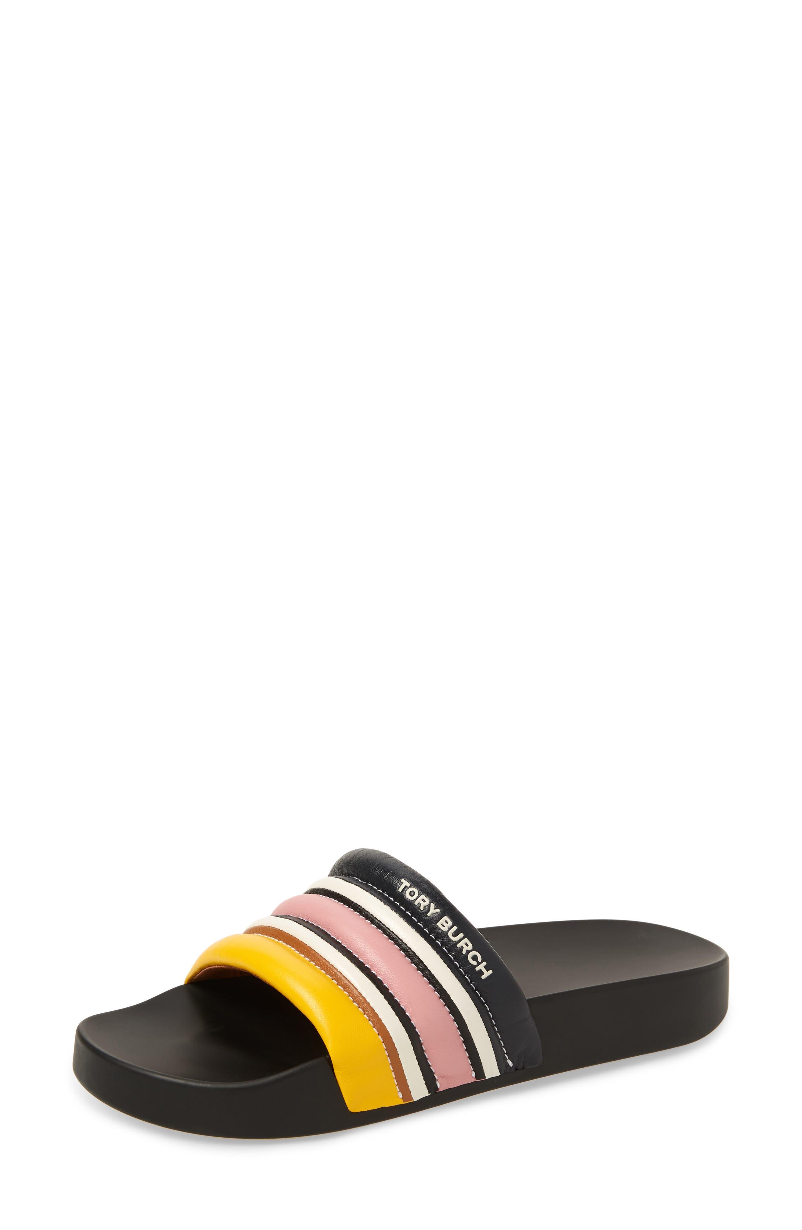 Tory Burch Colorblock Stripe Slide Sandal, Yellow