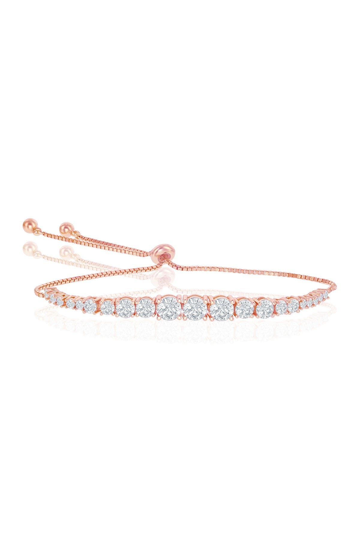 Image of Simona Jewelry 14K Rose Gold Plated Sterling Silver Graduated CZ Tennis Bracelet