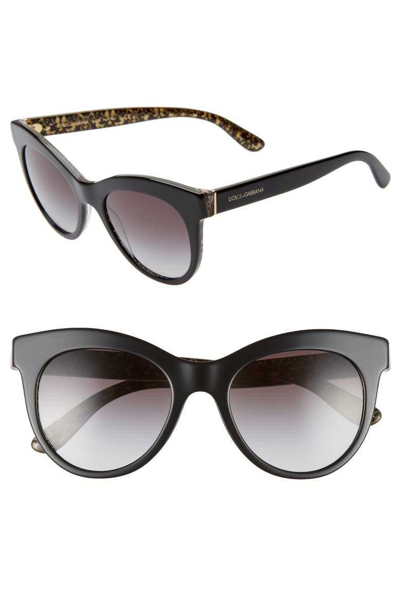 DOLCE&GABBANA Essential Gradient 51mm Sunglasses, Main, color, BLACK