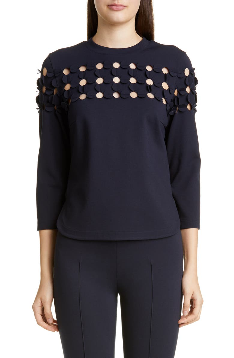 AKRIS PUNTO Dot Appliqué Ponte Top, Main, color, NAVY