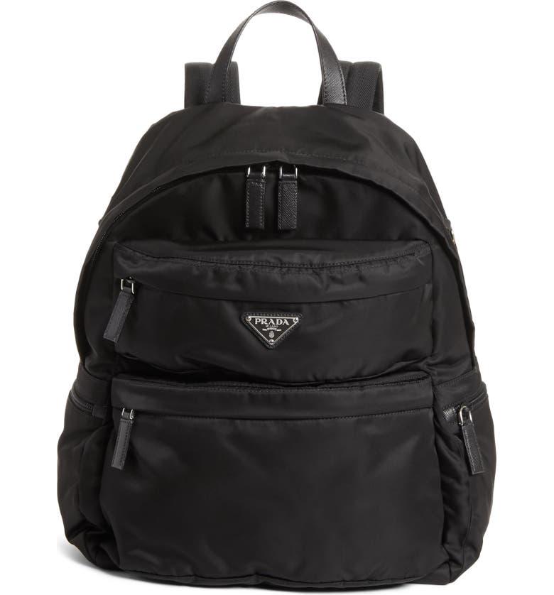 PRADA Tessuto Nylon Backpack, Main, color, BLACK