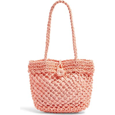 Topshop Fizzle Straw Tote - Pink